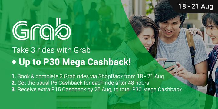 Get P30 Mega Cashback on Grab Rides