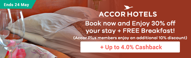 Accor Hotels: Enjoy 30% off your stay + Free Breakfast