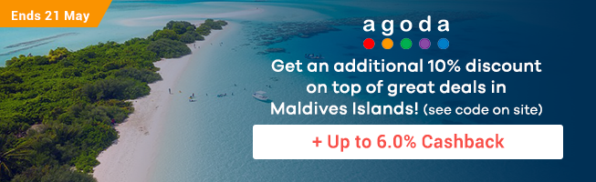 Agoda: 10% off accommodations in Maldives Islands