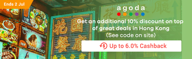 Agoda: Get an additional 10% off discount on top of great deals in Hongkong