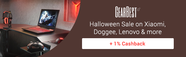 Gearbest: Halloween Sale on best brands + 1% Cashback