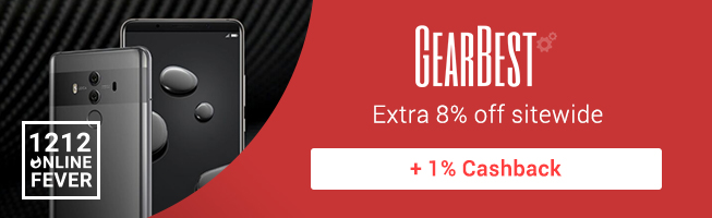 Gearbest: Extra 8% off sitewide + 1% Cashback