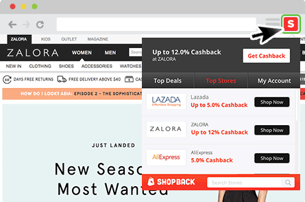 ShopBack Cashback Buddy - Click cashback button to view all deals