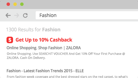 ShopBack Cashback Buddy - Click get cashback link in search results