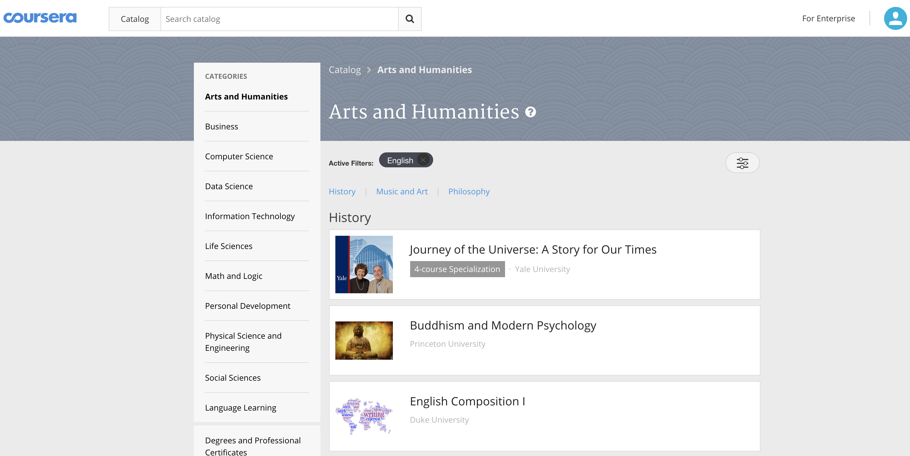 screencap of Coursera's catalog with Arts and Humanities courses featured