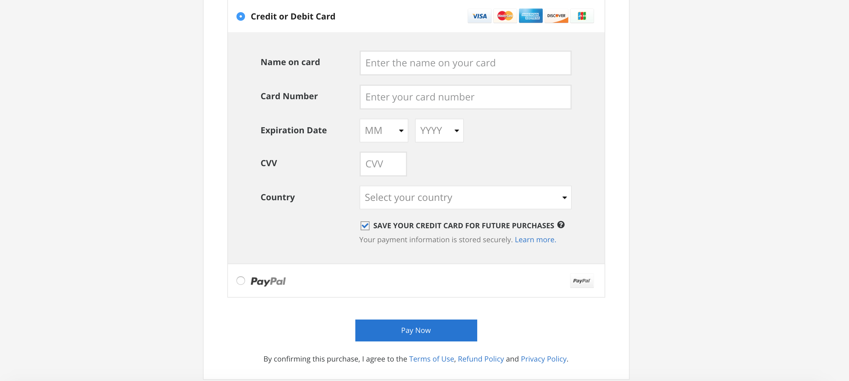 Payment page and payment options on Coursera
