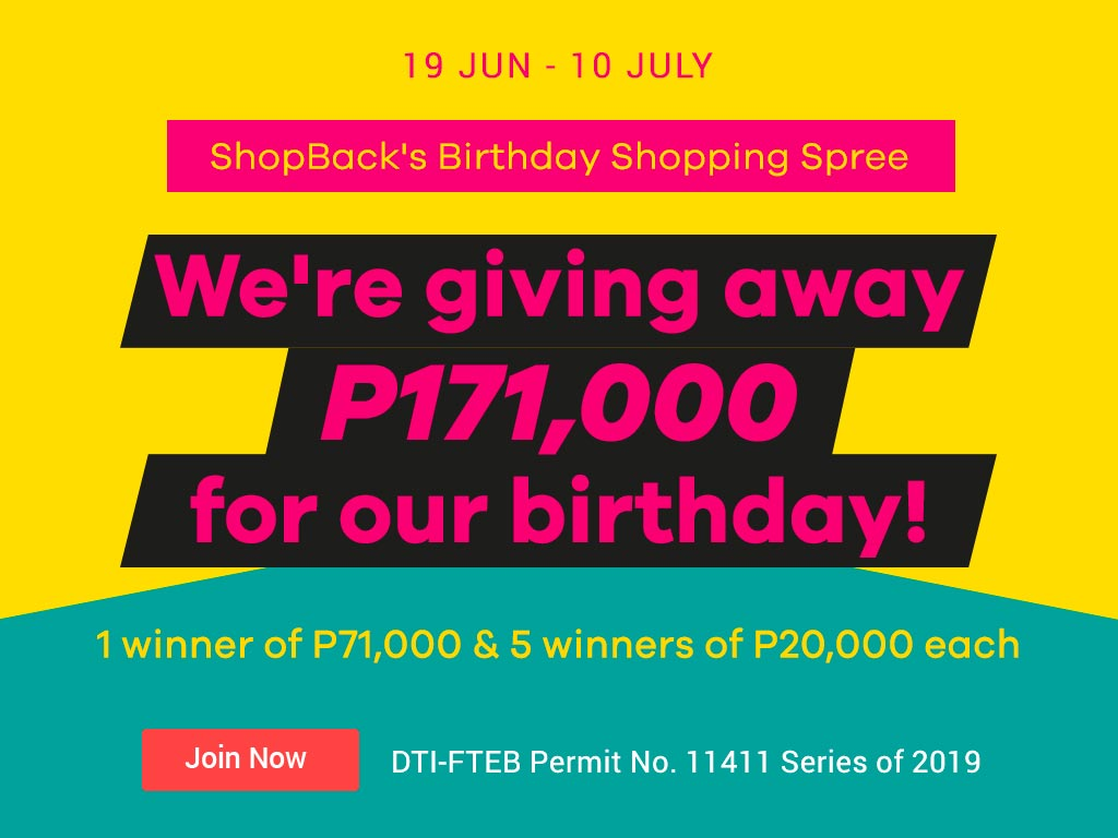 ShopBack Birthday Giveaway P171,000 Cashback