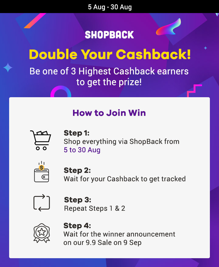 Double your Cashback with ShopBack | The more you earn, the bigger the chance of winning