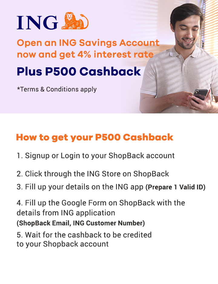 Apply for a ING Account and get P500 Cashback