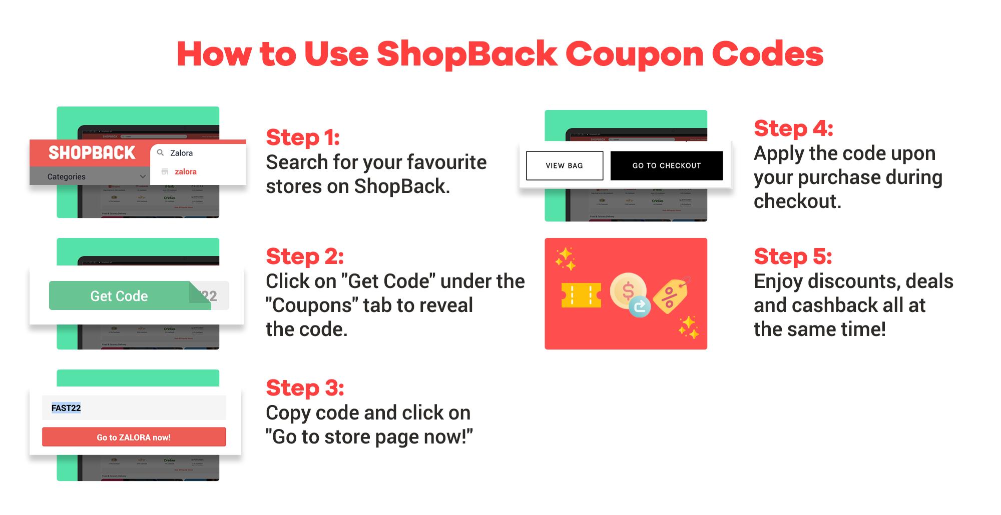 Voucher codes + Cashback on ShopBack How To