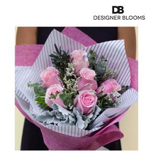 6 Pink Ecuadorian Roses in a Bouquet