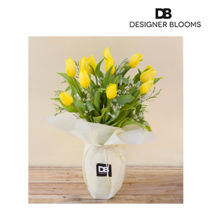 12 Yellow Tulips in a Vase