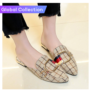 Metallic-buckle Mules shoes