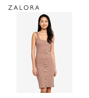 Cotton On Lola Ribbed Button Dress
