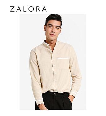 ZALORA Basics Stand Collar Shirt