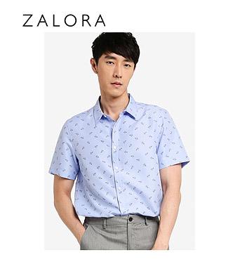 ZALORA Basics Microprint Collar Shirt